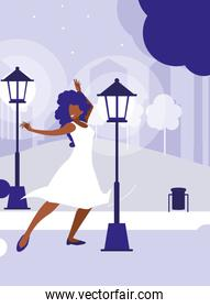 young black woman dancing in the park character