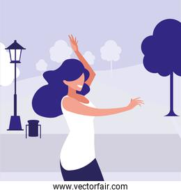 young woman dancing in the park character