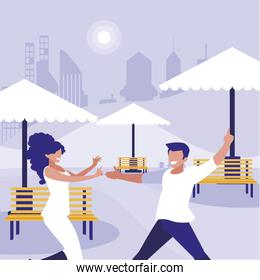 young couple dancing in the park characters