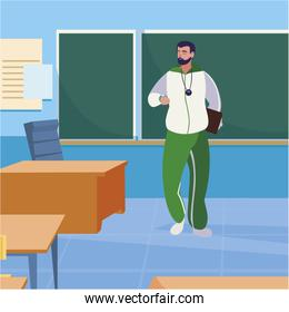sports teacher in the classroom