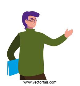 teacher male with documents character