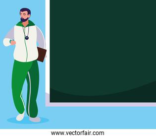 sports teacher with chalkboard character