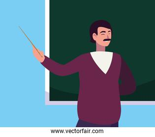 teacher male with chalkboard character