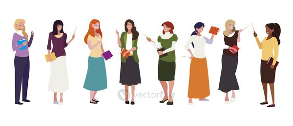 interracial female teachers group with textbooks characters