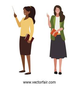 interracial female teachers with textbooks characters
