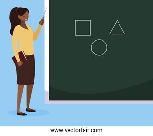 black female teacher with textbook and chalkboard