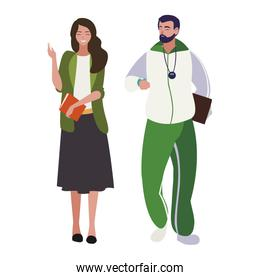 sports and woman teachers characters