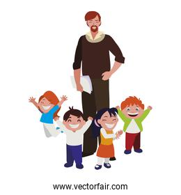 teacher male with kids students