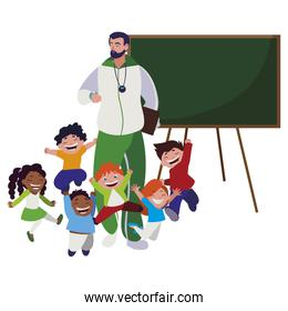 sports teacher with little students and chalkboard