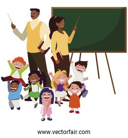 black teachers couple with little students and chalkboard