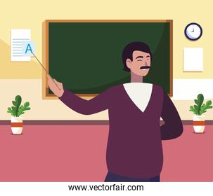teacher male in the classroom character