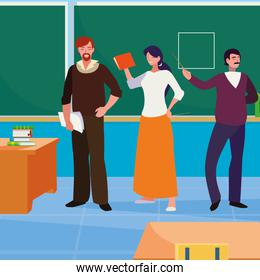 teachers group in the classroom characters