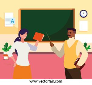 interracial teachers couple in the classroom characters