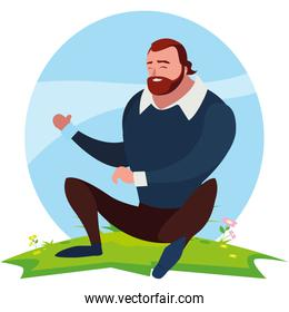 strong and bearded man seated in the field