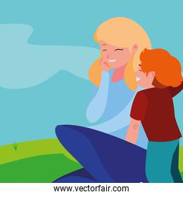 mother with son in the landscape