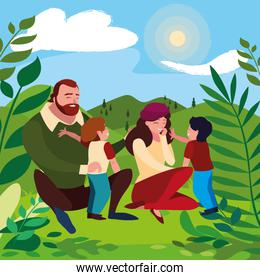 parents couple with sons in the field