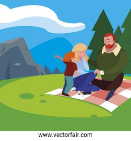 parents couple with son in the field picnic day