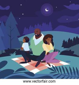 black parents couple with son in the landscape picnic day