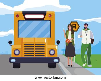 sports and woman teachers in stop bus
