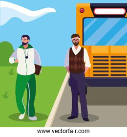 teachers classic and sports in stop bus