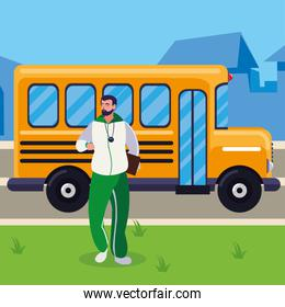 sports teacher in stop bus