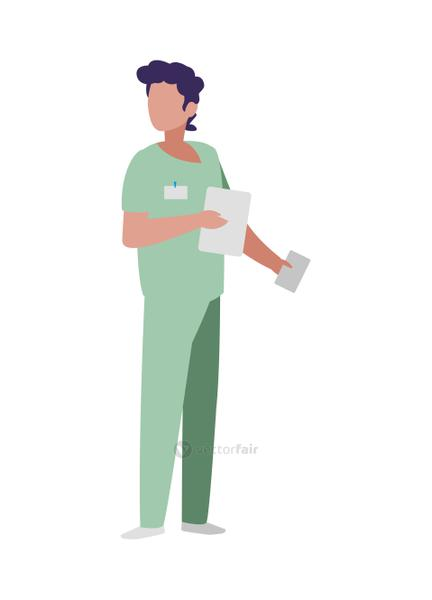 male medicine worker with uniform and documents