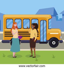 interracial female teachers in stop bus characters
