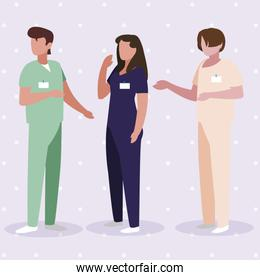 group medicine workers with uniform characters