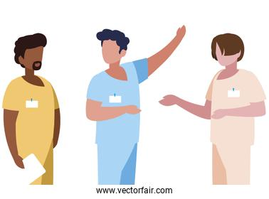 interracial male medicine workers with uniforms