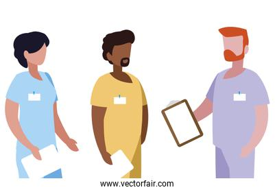 interracial group medicine workers with uniform characters