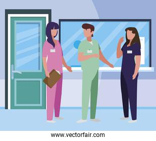 group medicine workers in hospital reception
