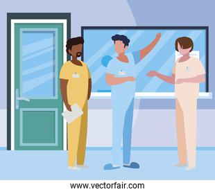 interracial male medicine workers in hospital reception