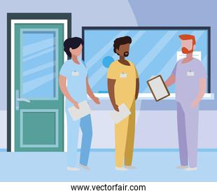interracial group medicine workers in hospital reception