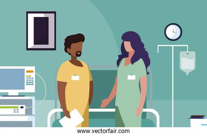 interracial couple medicine workers in operating theater