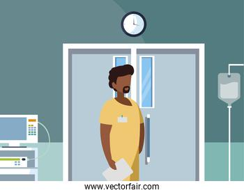 afro male medicine worker in operating theater