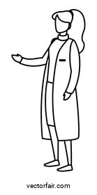 female medicine worker with uniform character
