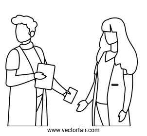 couple medicine workers with uniform characters