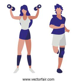 athletic man running and woman weight lifting