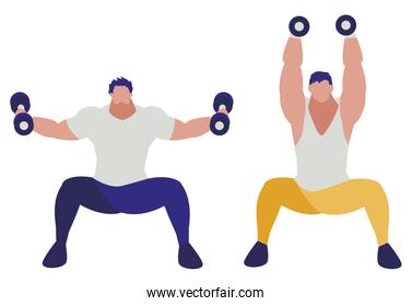 athletic men weight lifting characters