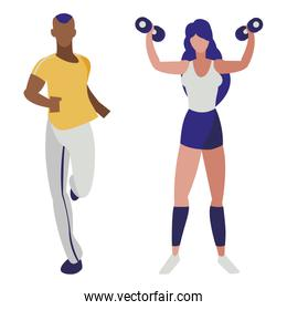 athletic afro man running and woman weight lifting
