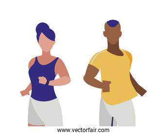 athletic afro man and woman running characters