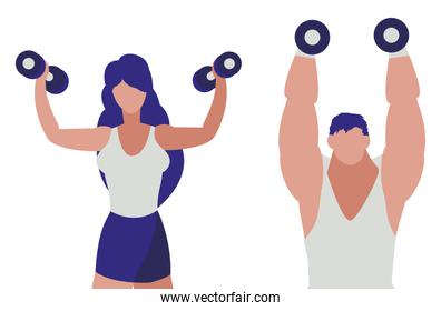 athletic man and woman weight lifting