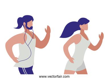 athletics couple running characters vector ilustration