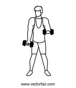 athletic man weight lifting vector ilustration