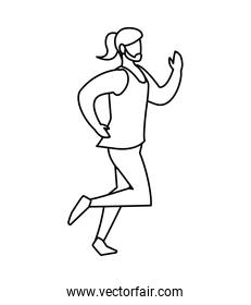 athletic man running character vector ilustration