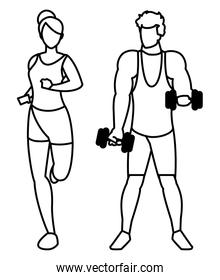 athletic man weight lifting and woman running