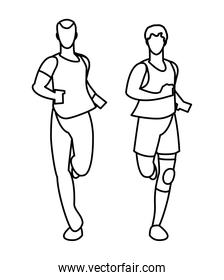 athletic men running character vector ilustration