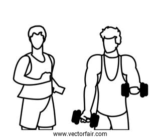 athletic men weight lifting and running