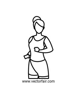 athletic woman running character vector ilustration