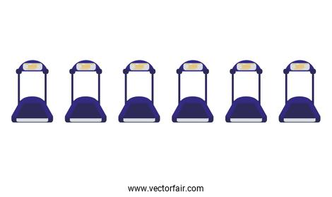 electric treadmills tapes icons vector ilustration